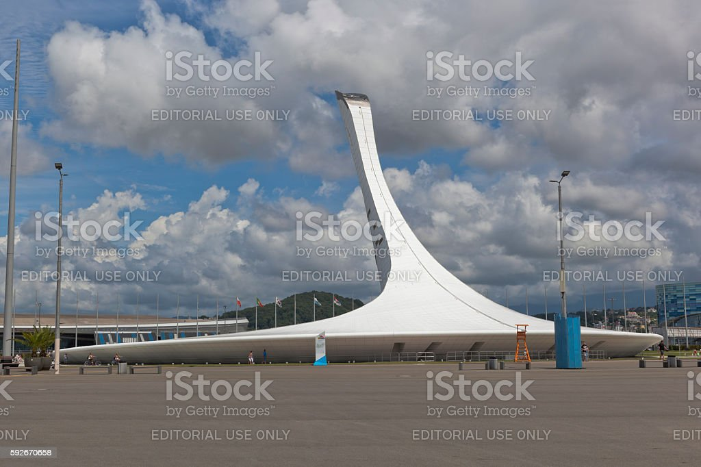 Bowl of Olympic torch in the Sochi Olympic Park stock photo