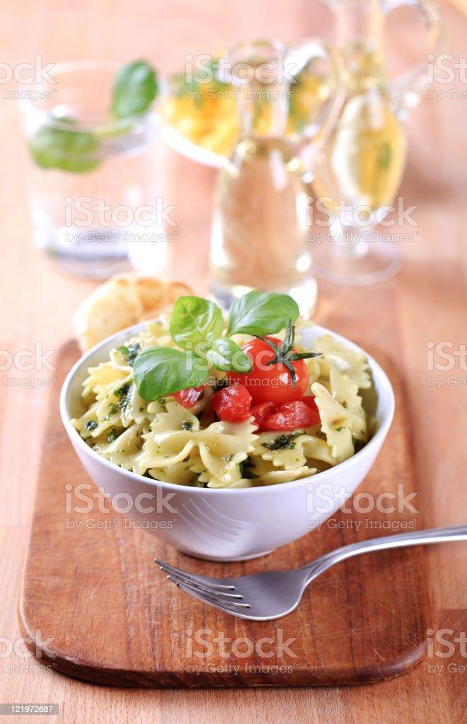 Bowl of pasta salad royalty-free stock photo
