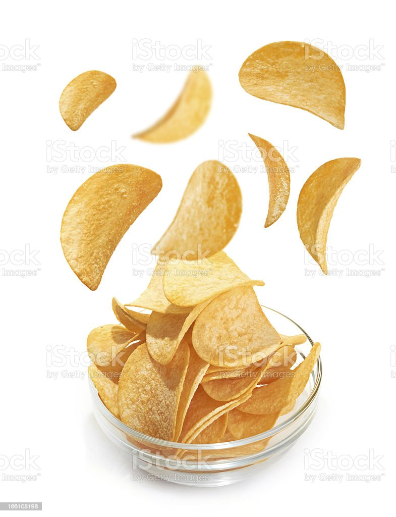 Bowl of patato chips isolated on white royalty-free stock photo