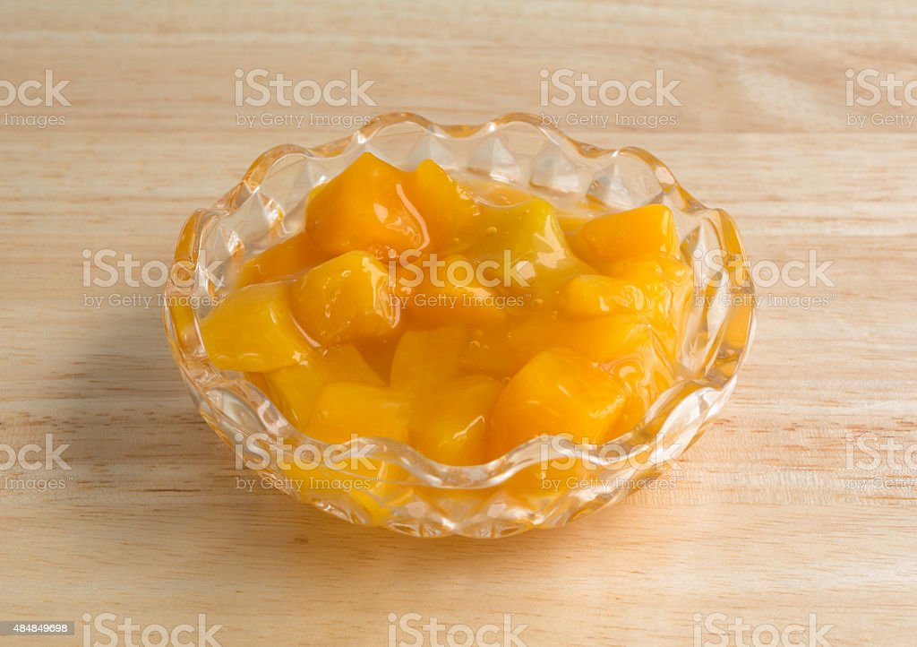 Bowl of peaches in heavy syrup stock photo