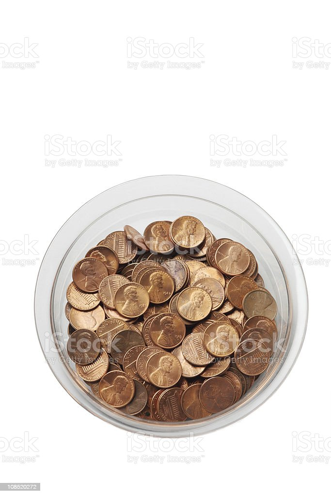 Bowl of pennies royalty-free stock photo