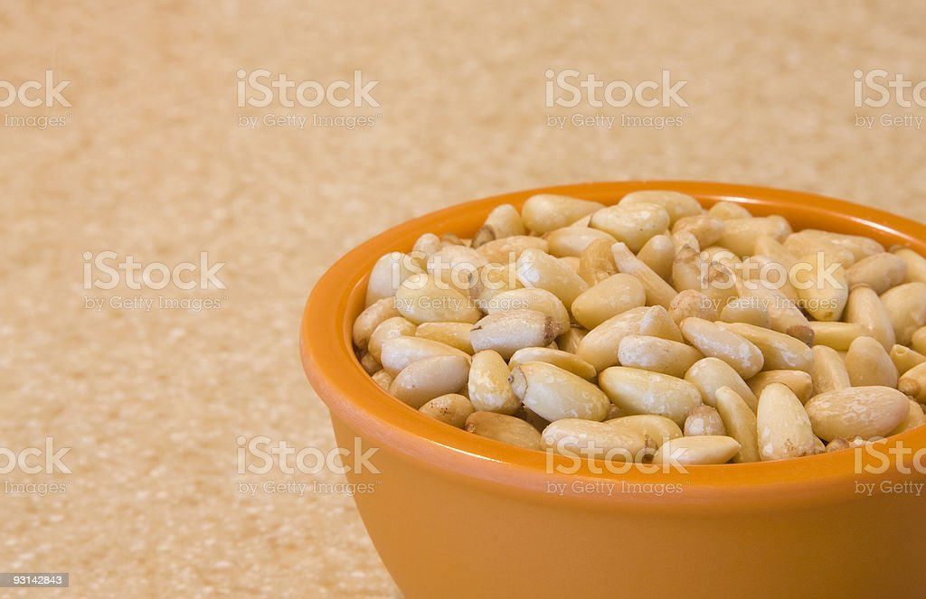 Bowl of Pine Nuts royalty-free stock photo