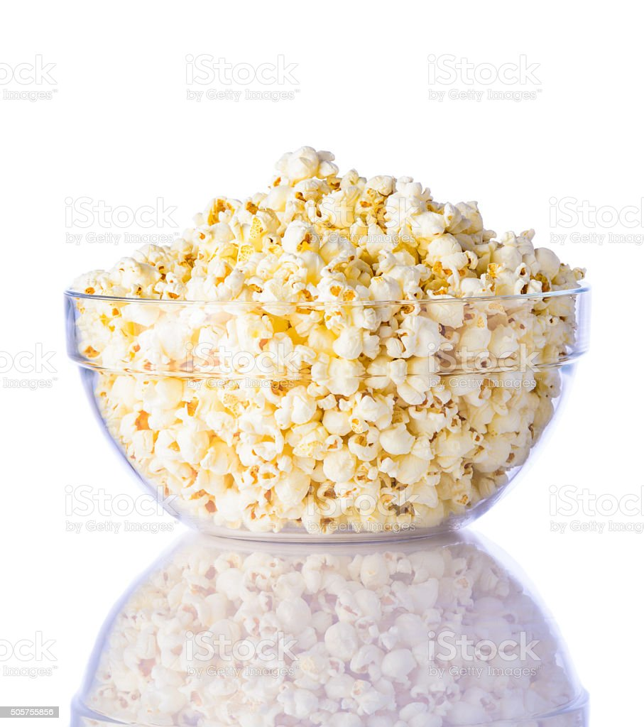 Bowl of Popcorn on white Background stock photo