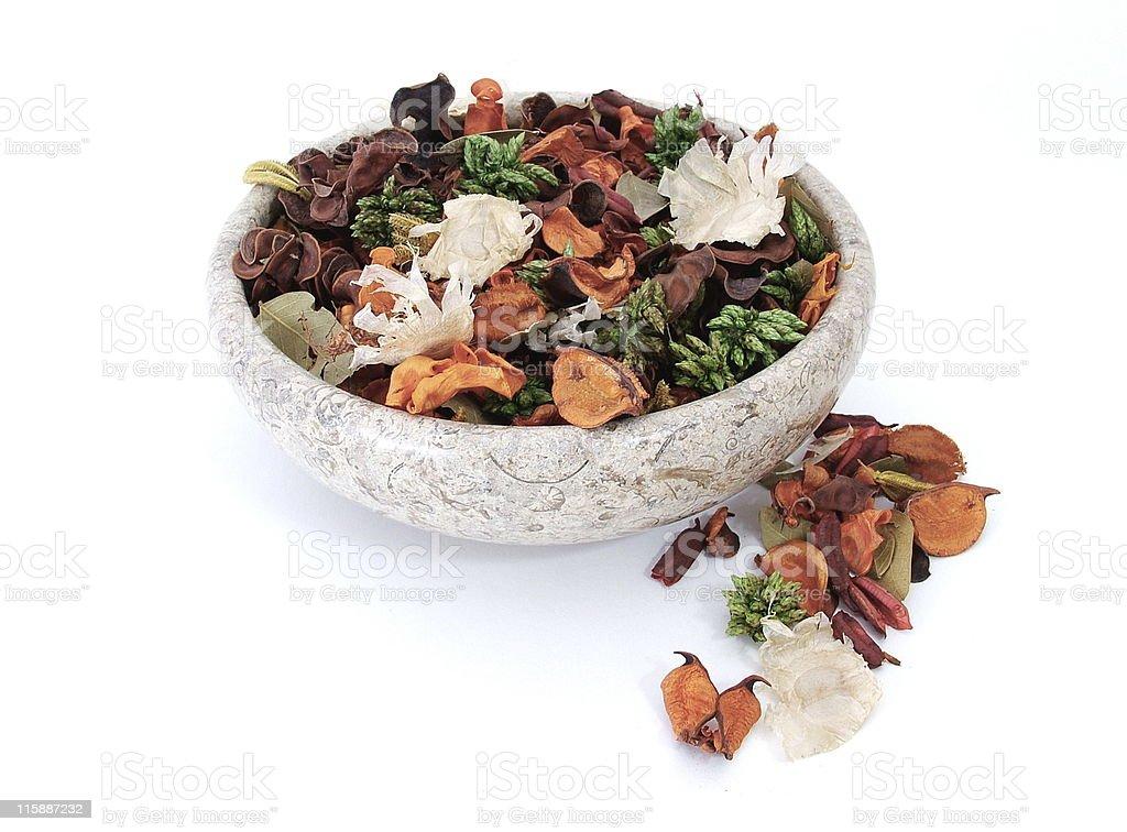 Bowl of potpourri stock photo