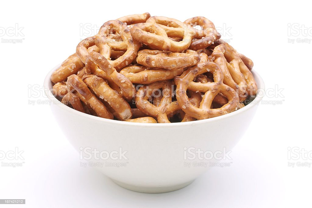 bowl of pretzels stock photo