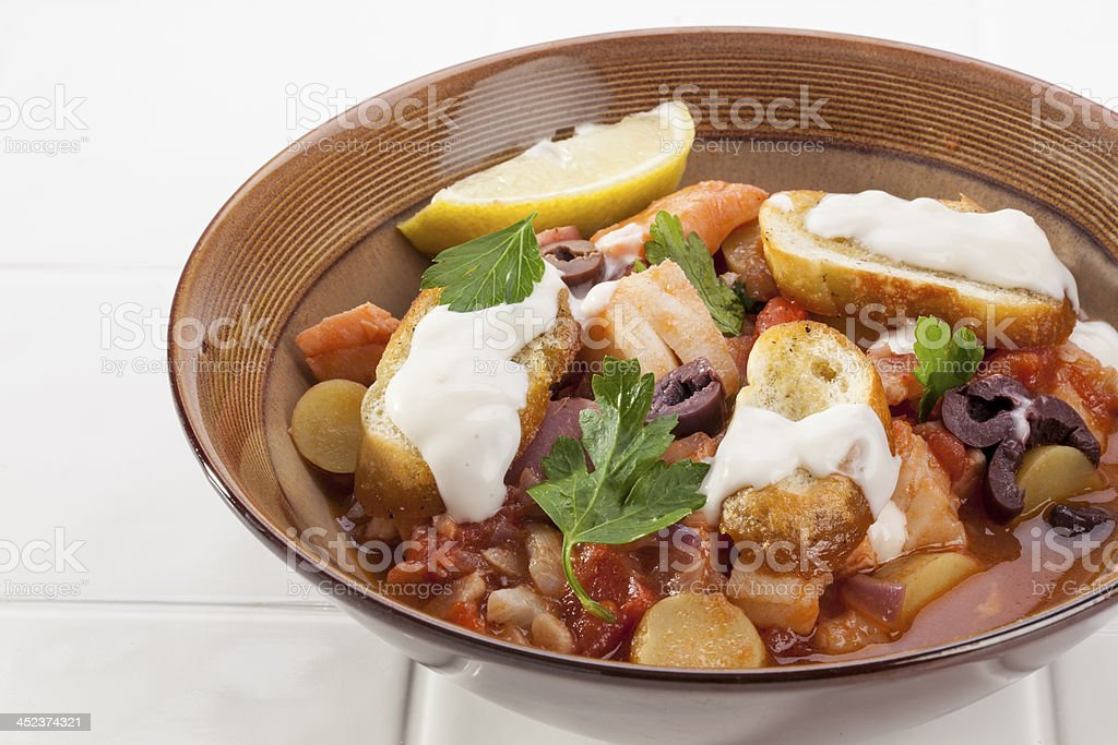Bowl of Provencal Fish Stew stock photo
