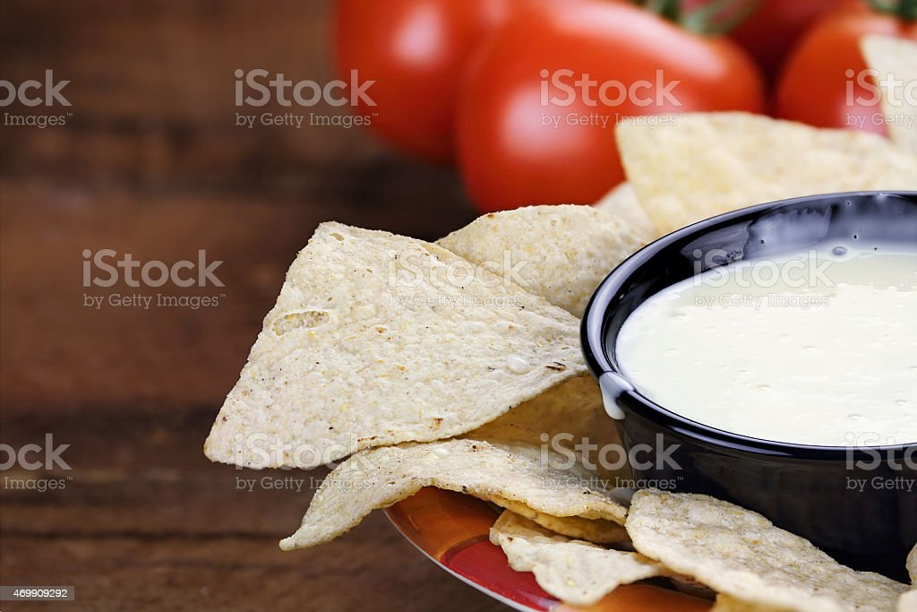 Bowl of Queso Blanco White Cheese Sauce stock photo