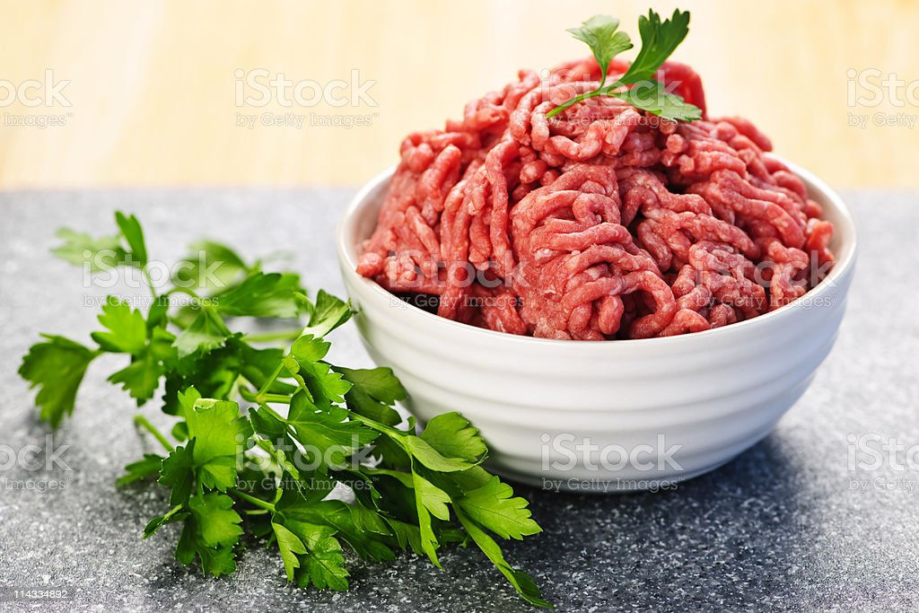 Bowl of raw ground meat royalty-free stock photo