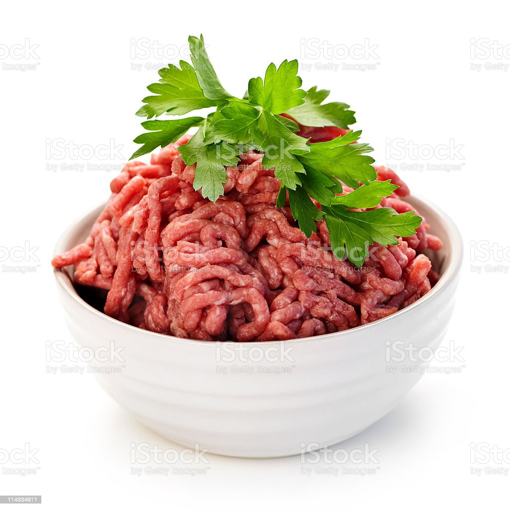Bowl of raw ground meat stock photo