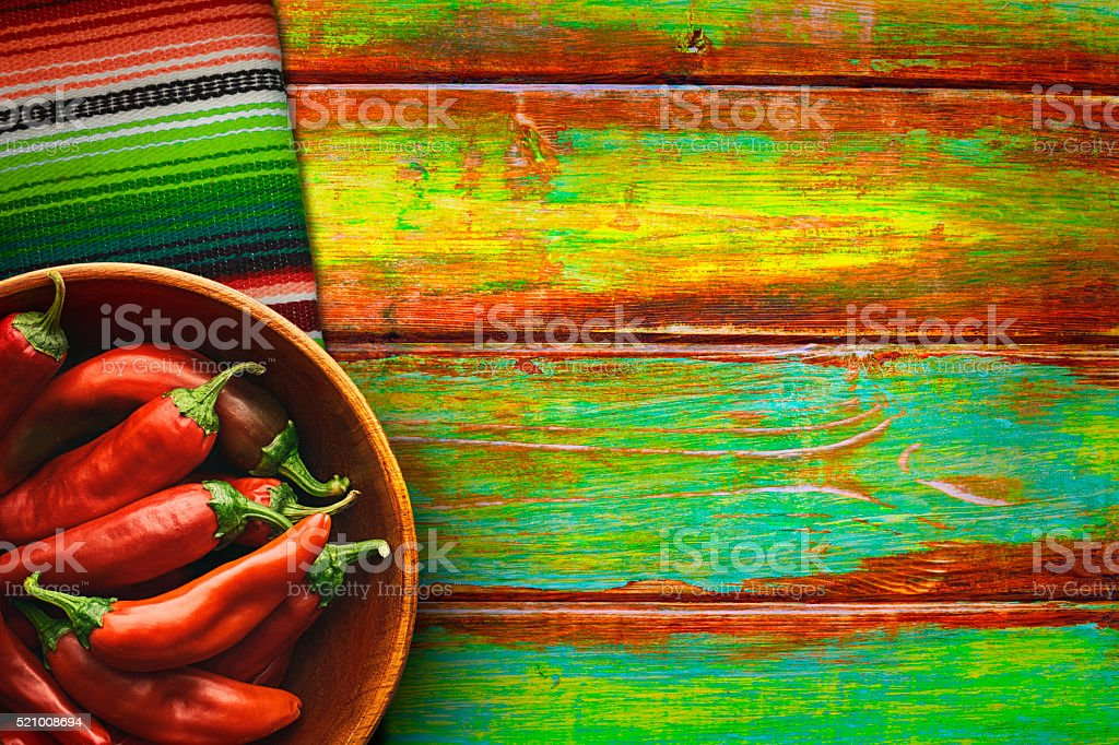 Bowl of Red Chili Peppers on Vibrant Background stock photo