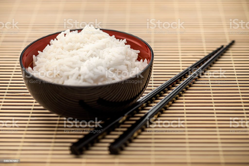 Bowl of rice, Asian Cuisine stock photo