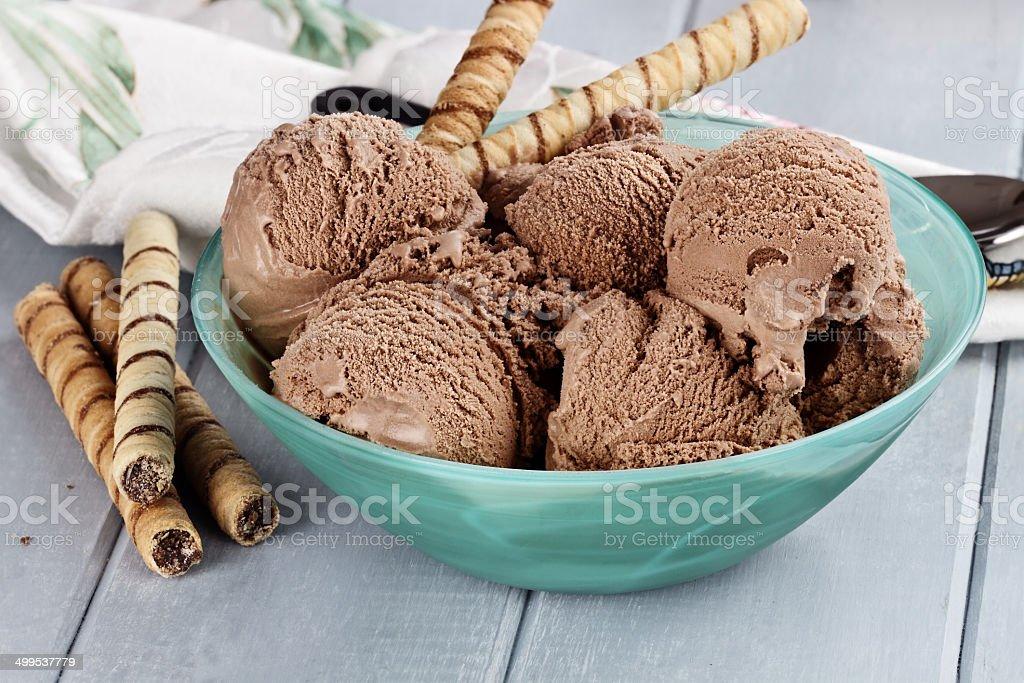 Bowl of Rich Dark Chocolate Ice Cream stock photo