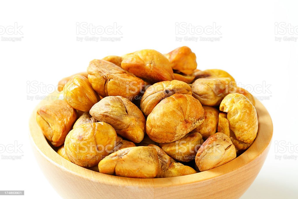 bowl of roasted chestnuts royalty-free stock photo