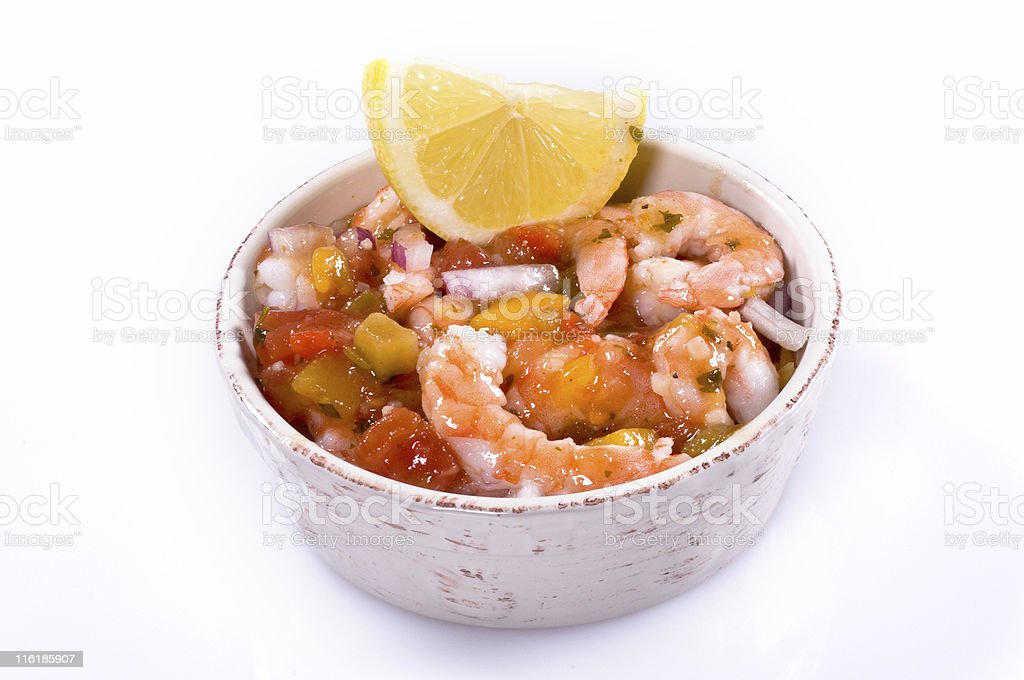 Bowl of shrimp ceviche stock photo