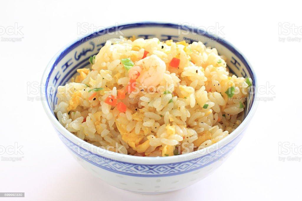 bowl of shrimp fried rice stock photo