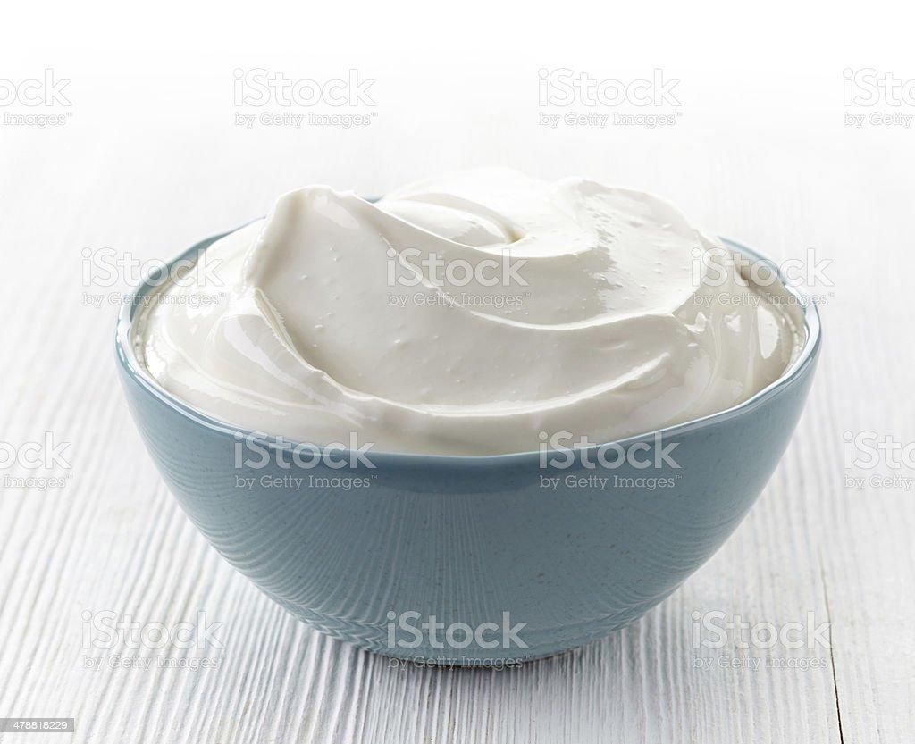 bowl of sour cream stock photo