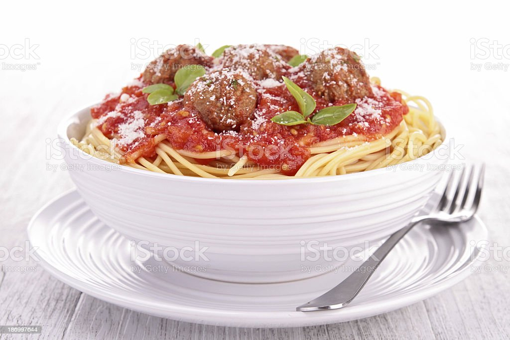bowl of spaghetti and meatball stock photo