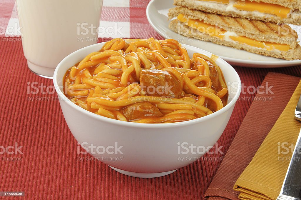 Bowl of spaghetti and meatballs royalty-free stock photo