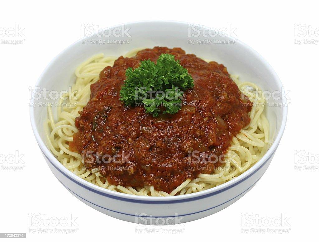 bowl of spaghetti stock photo