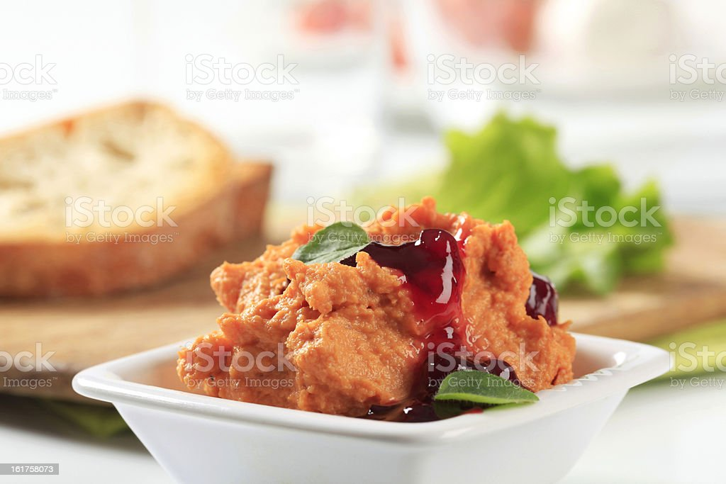 Bowl of spicy spread stock photo