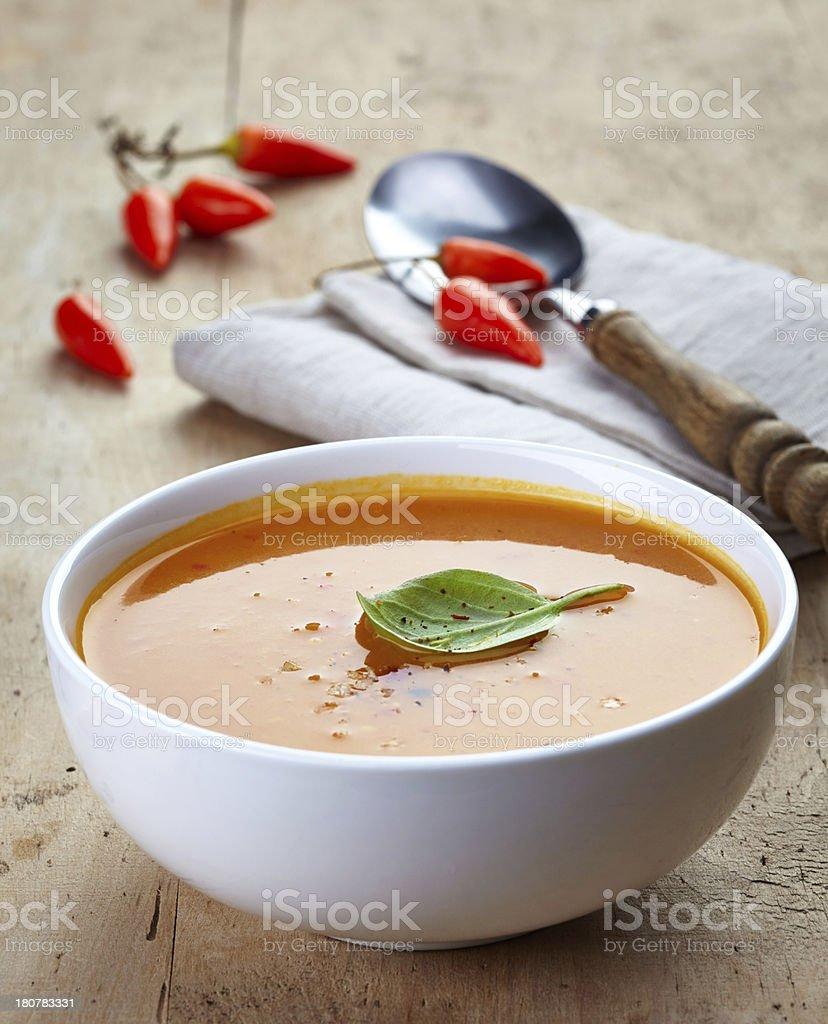 bowl of squash soup royalty-free stock photo