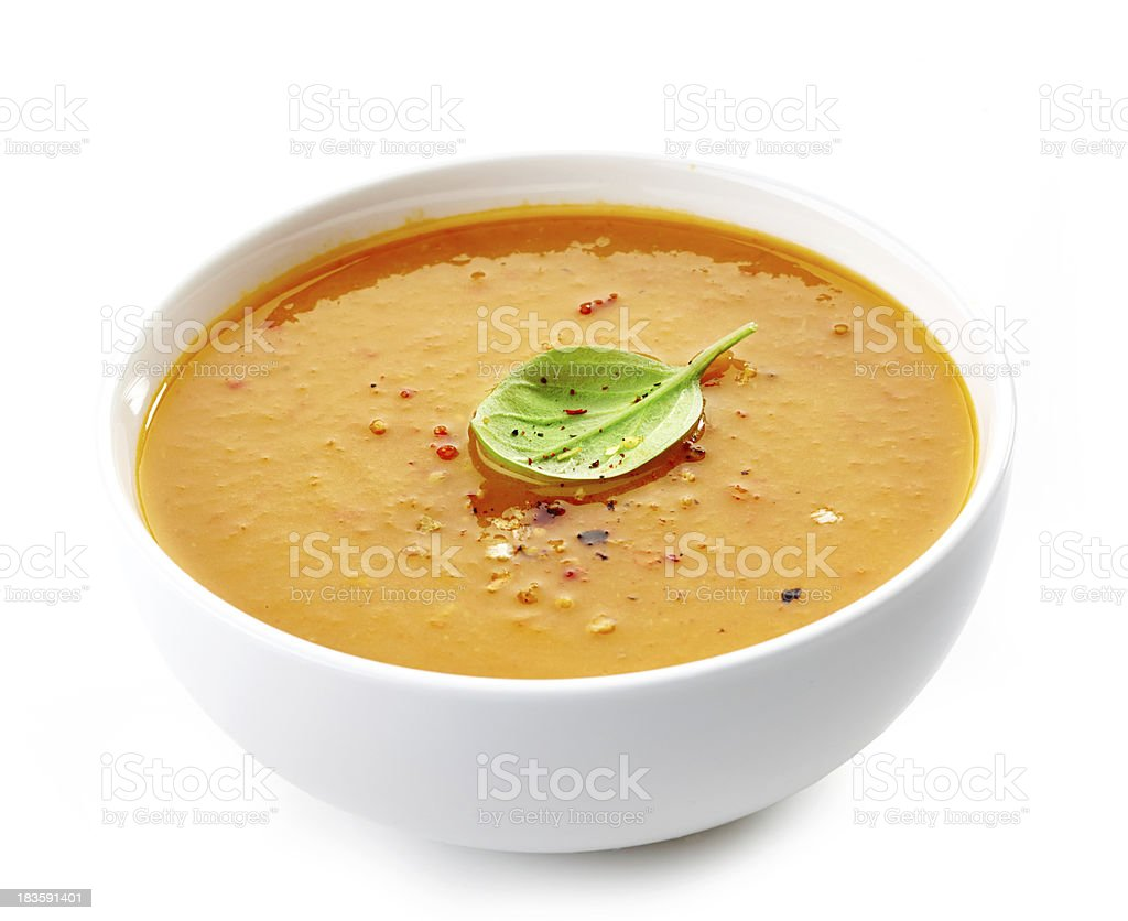 Bowl of squash soup stock photo