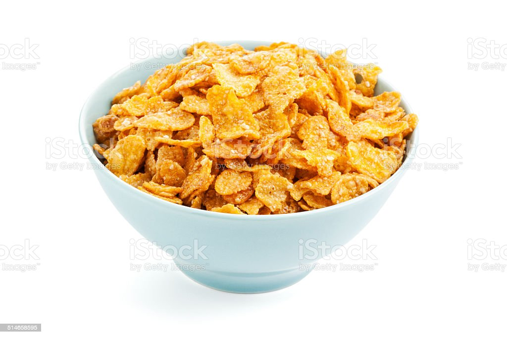 Bowl of sugarcoated corn flakes stock photo