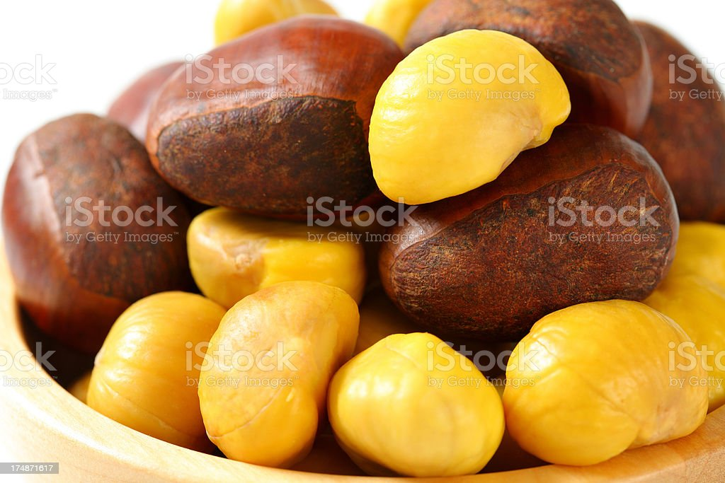bowl of sweet chestnuts royalty-free stock photo