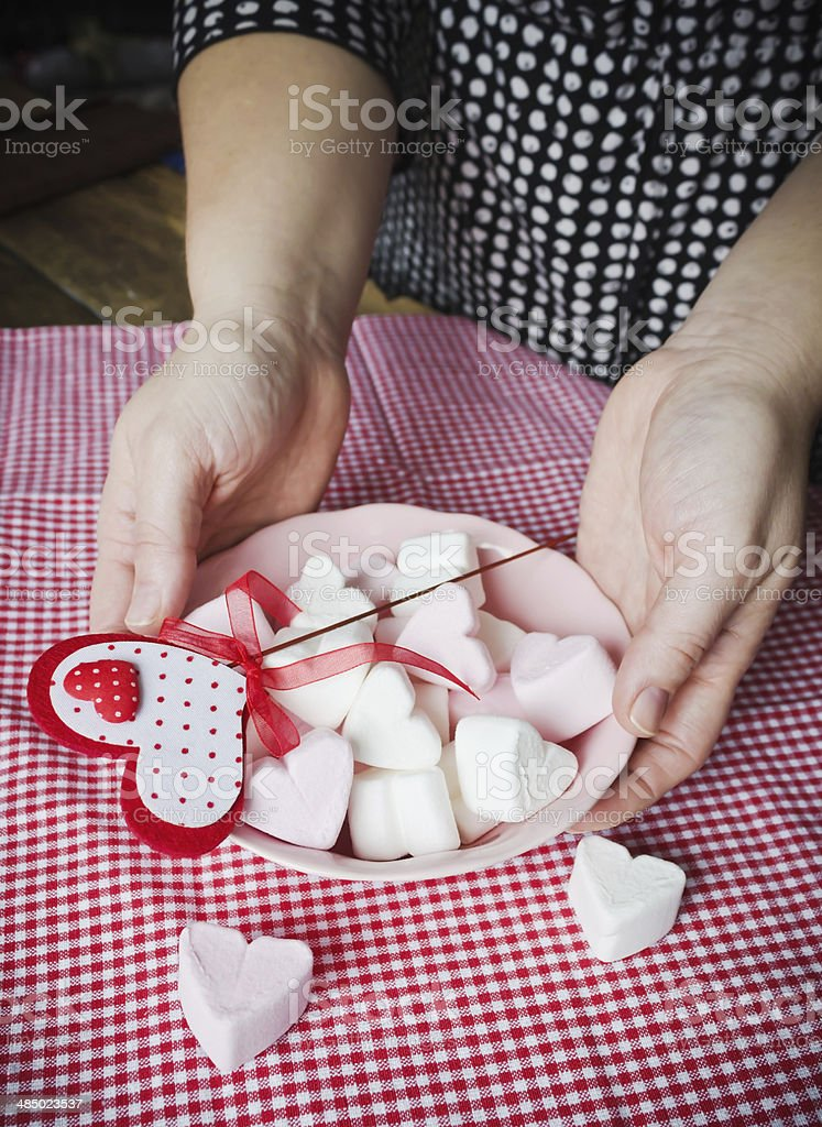 bowl of sweet valentines stock photo