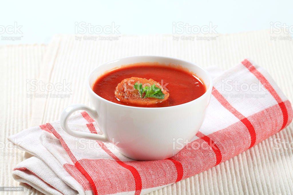 bowl of tomato soup stock photo