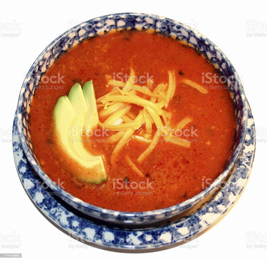 bowl of tortilla soup stock photo