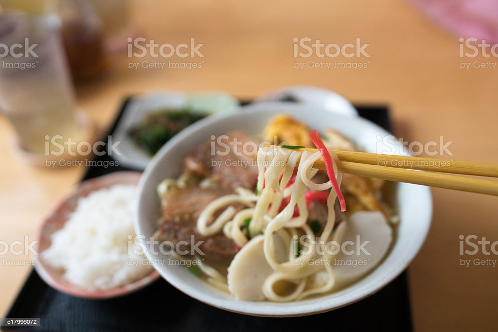 Bowl of traditional Okinawan soup stock photo