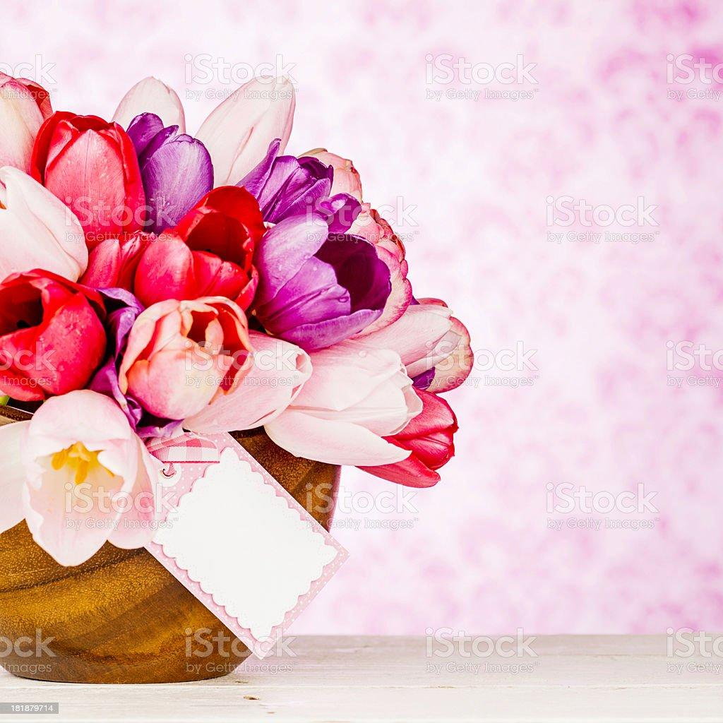 Bowl of Tulips with Blank Tag royalty-free stock photo