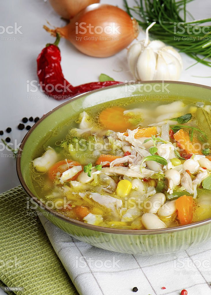 Bowl of vegetable chicken Soup royalty-free stock photo