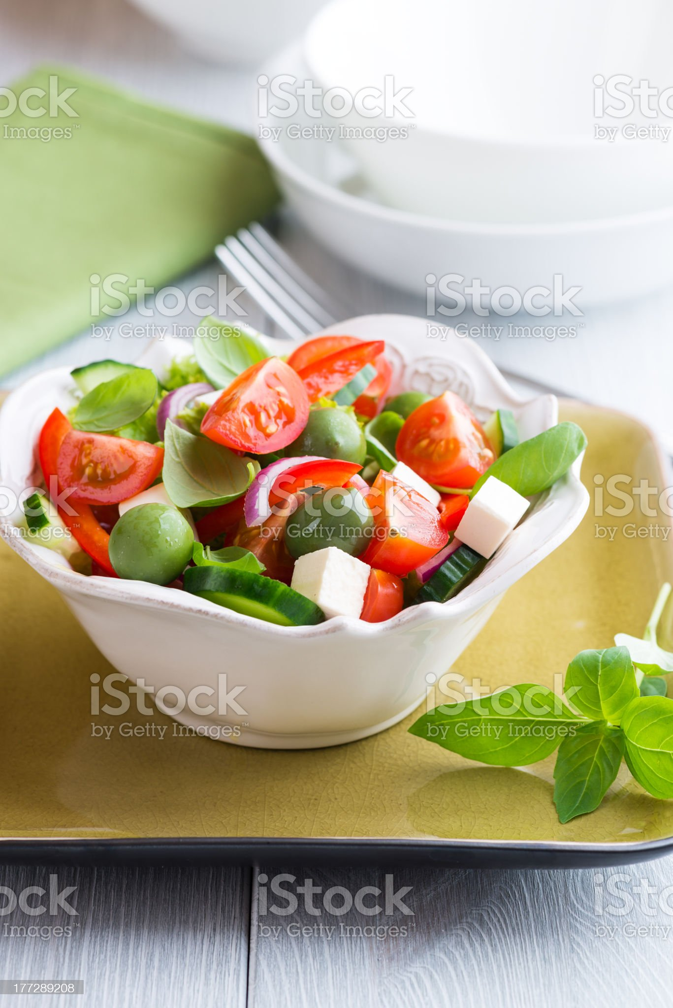 Bowl of Vegetable Salad with Feta Cheese and Olives royalty-free stock photo