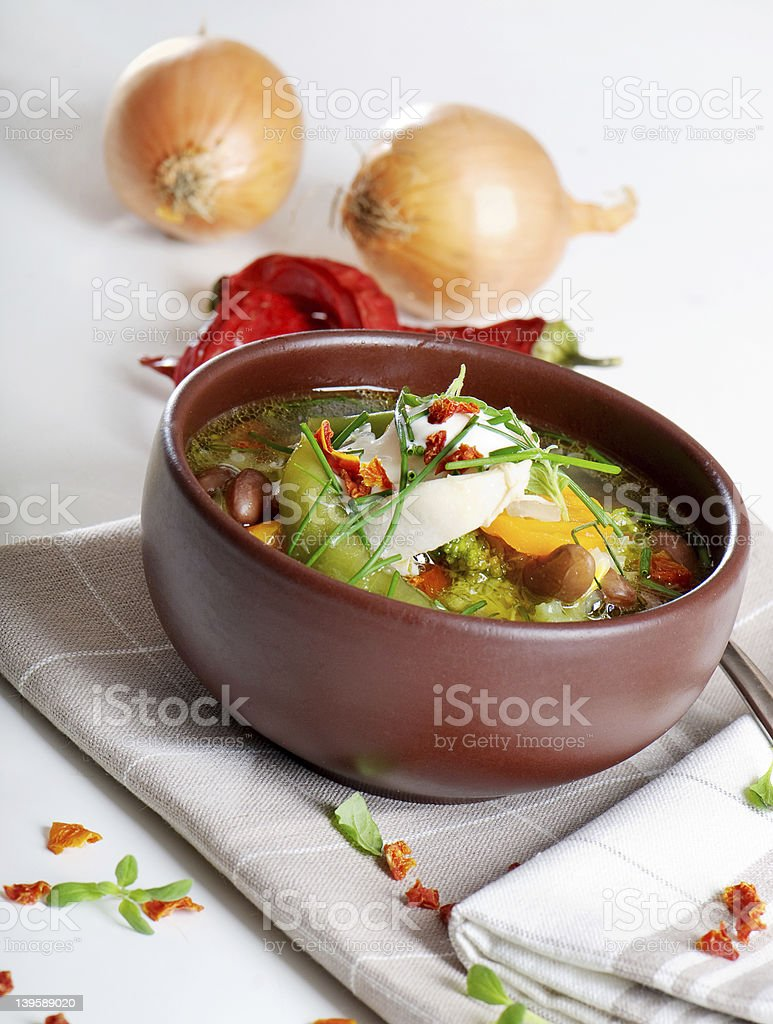 Bowl of vegetable Soup royalty-free stock photo