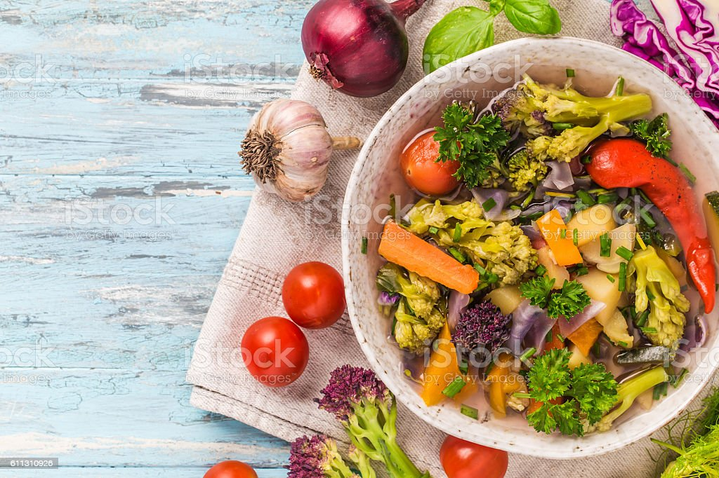 Bowl of vegetable stew top view stock photo