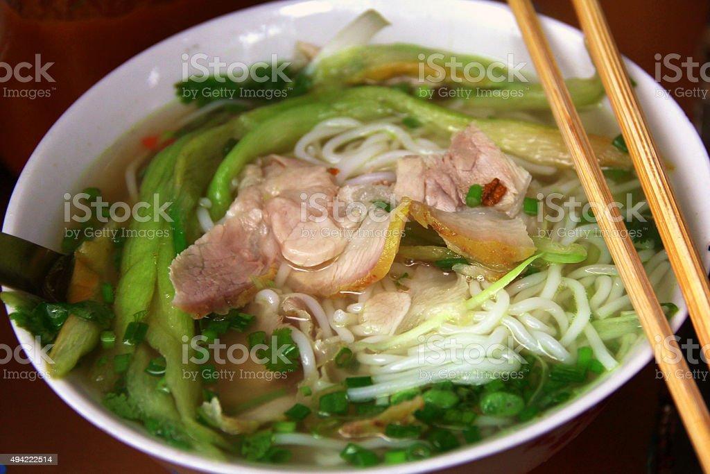 Bowl of Vietnamese pho noodle soup stock photo