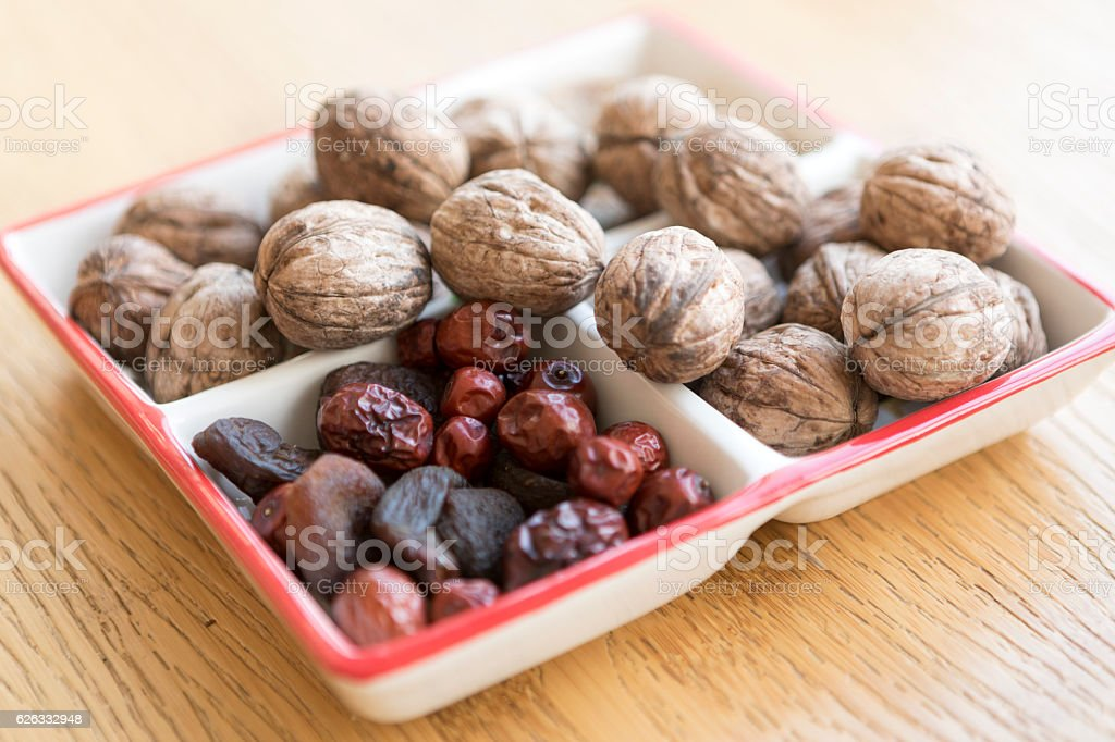 Bowl of walnuts on the table stock photo