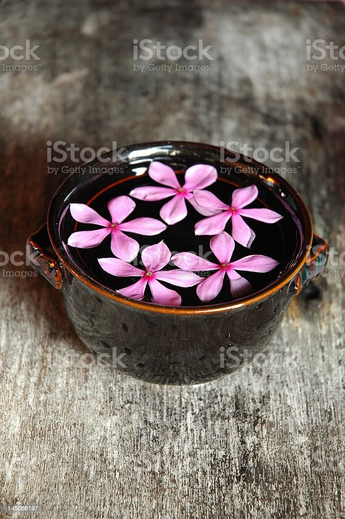 Bowl of water and flowers royalty-free stock photo