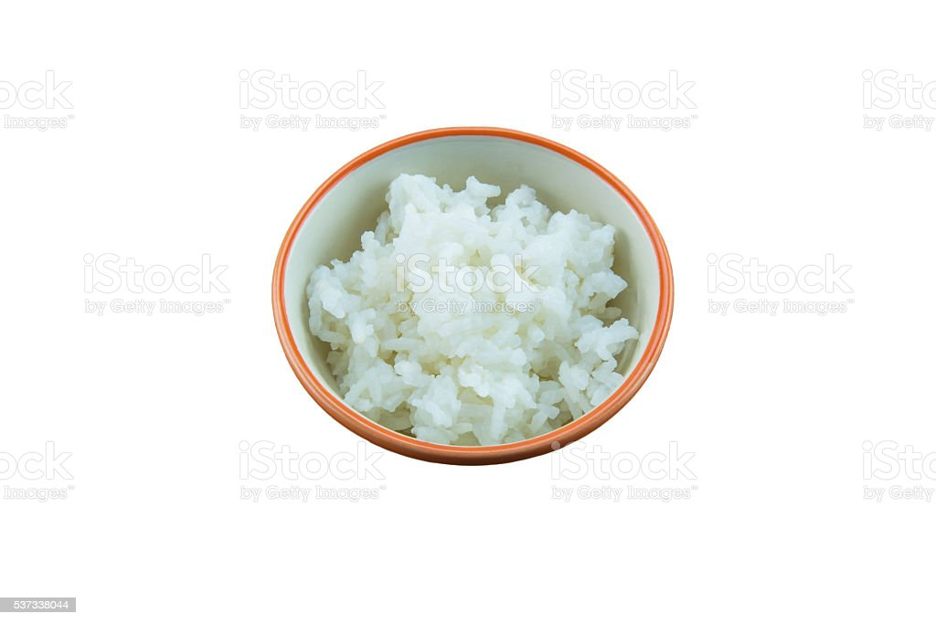 Bowl of white rice isolated on a white background stock photo