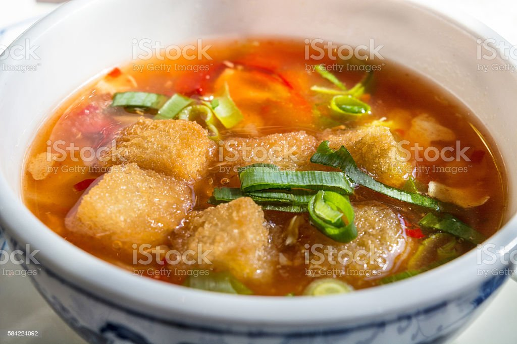 Bowl with a Chinese soup. stock photo