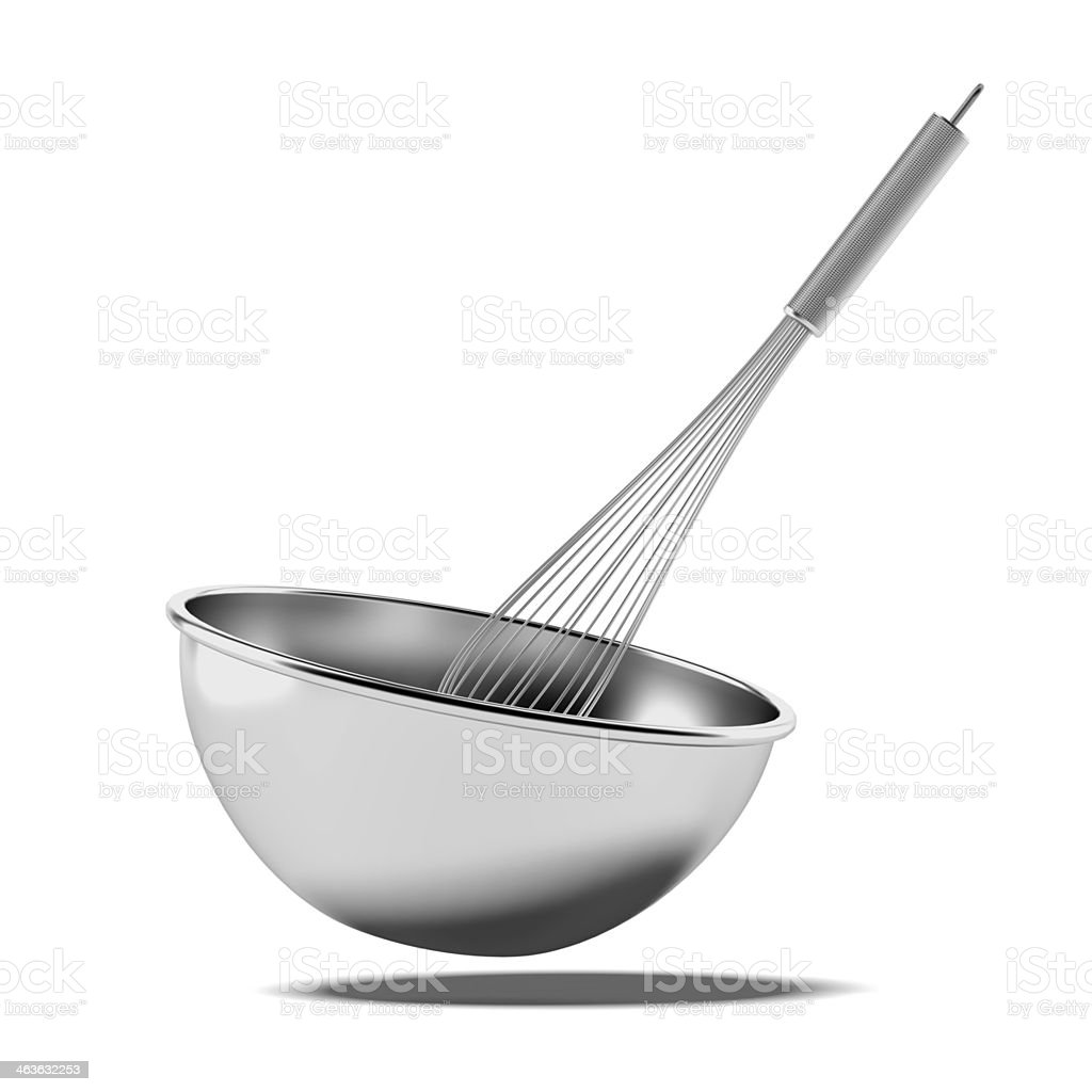 Bowl with a whisk stock photo
