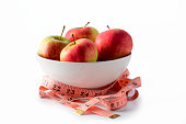 Bowl with apples and measure tape on white