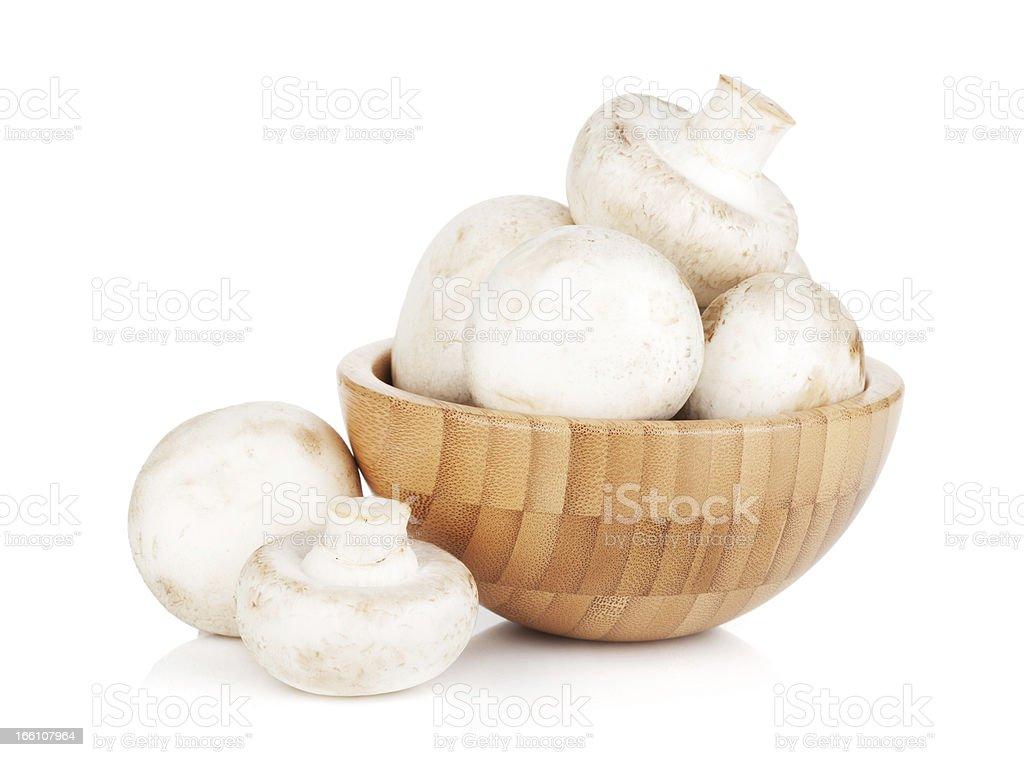 Bowl with champignon mushrooms royalty-free stock photo