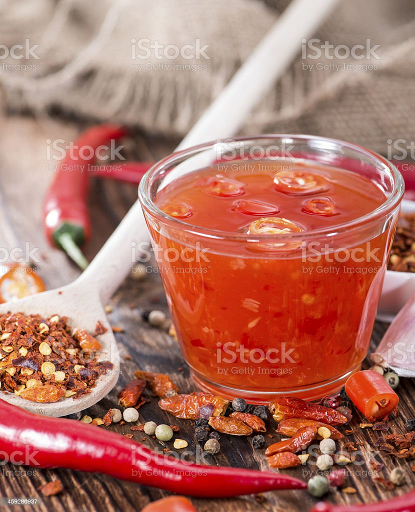 Bowl with Chili Sauce stock photo