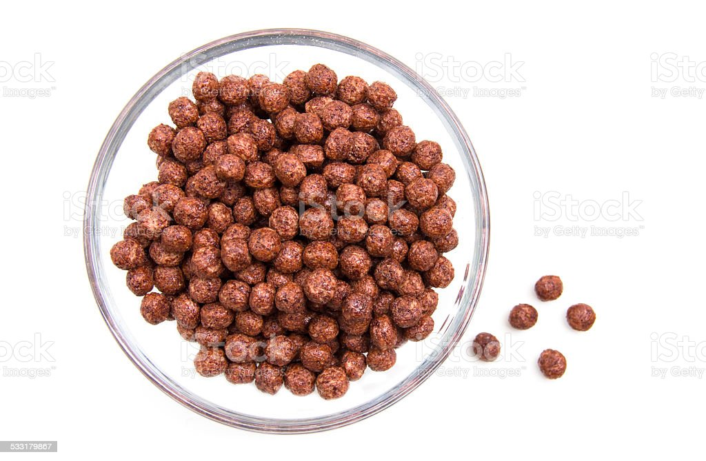 Bowl with chocolate cereal from above stock photo