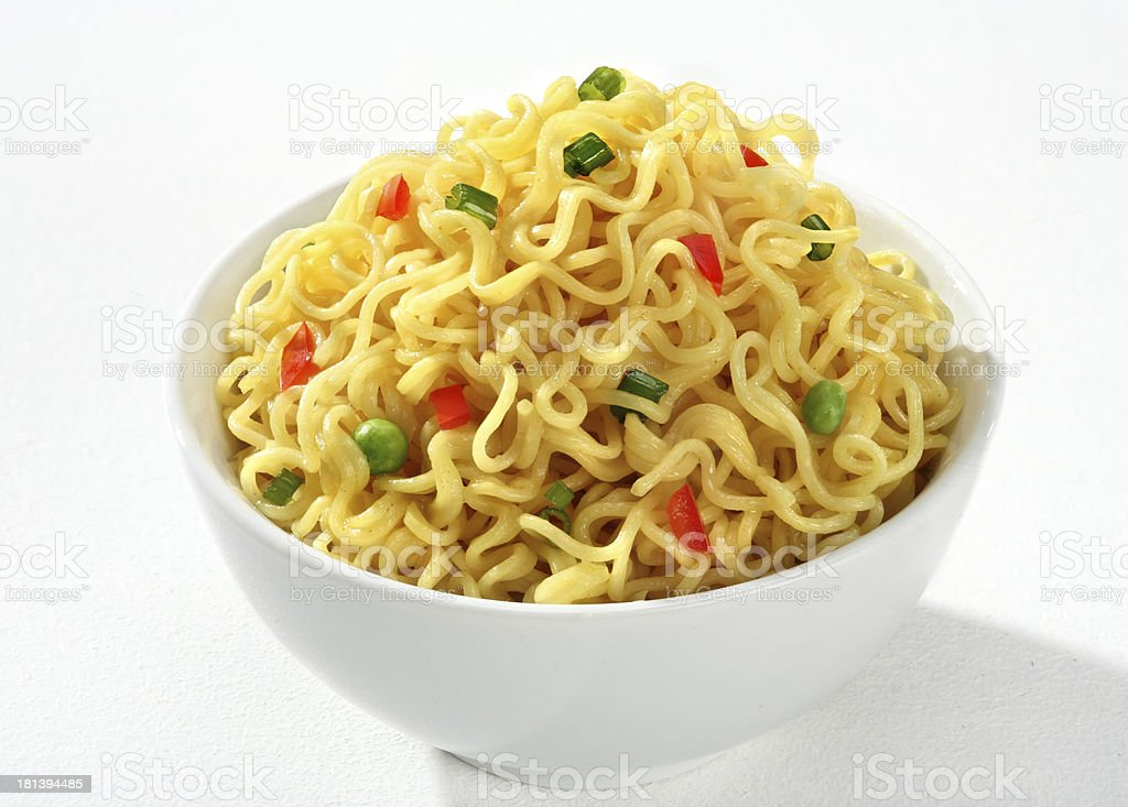Bowl with cooked noodles royalty-free stock photo