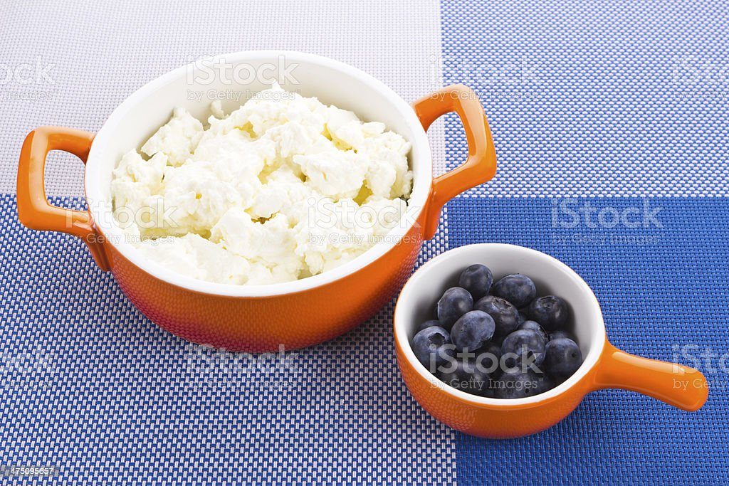 Bowl with cottage-cheese and berries royalty-free stock photo