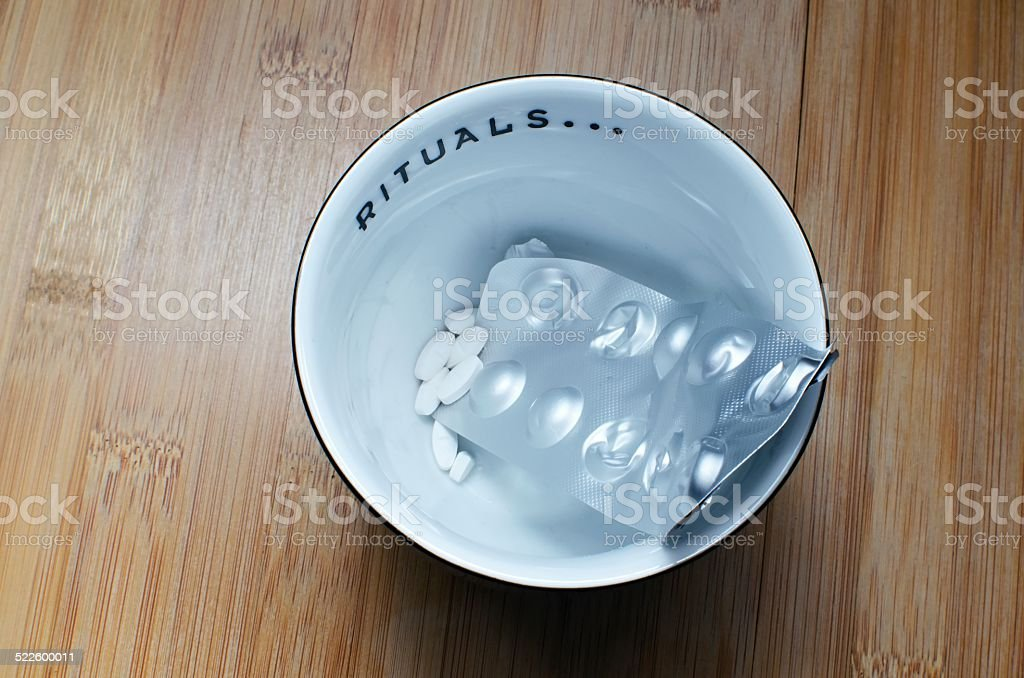 Bowl with drugs stock photo